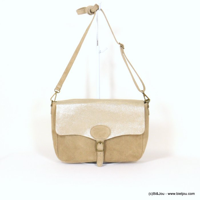 handbag 0921010-06 saddlebag suede style 32x20x8cm GENUINE LEATHER