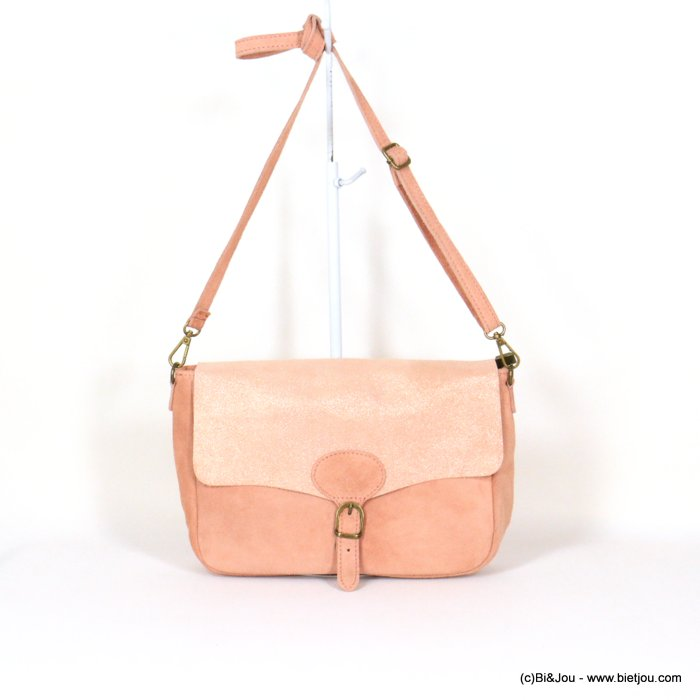 handbag 0921010-18 saddlebag suede style 32x20x8cm GENUINE LEATHER
