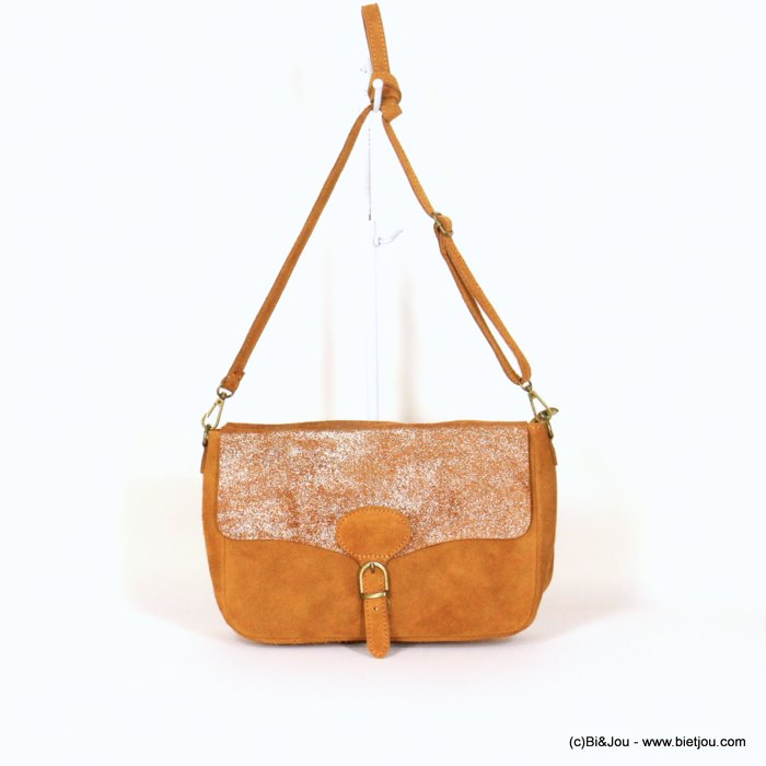handbag 0921010-43 saddlebag suede style 32x20x8cm GENUINE LEATHER