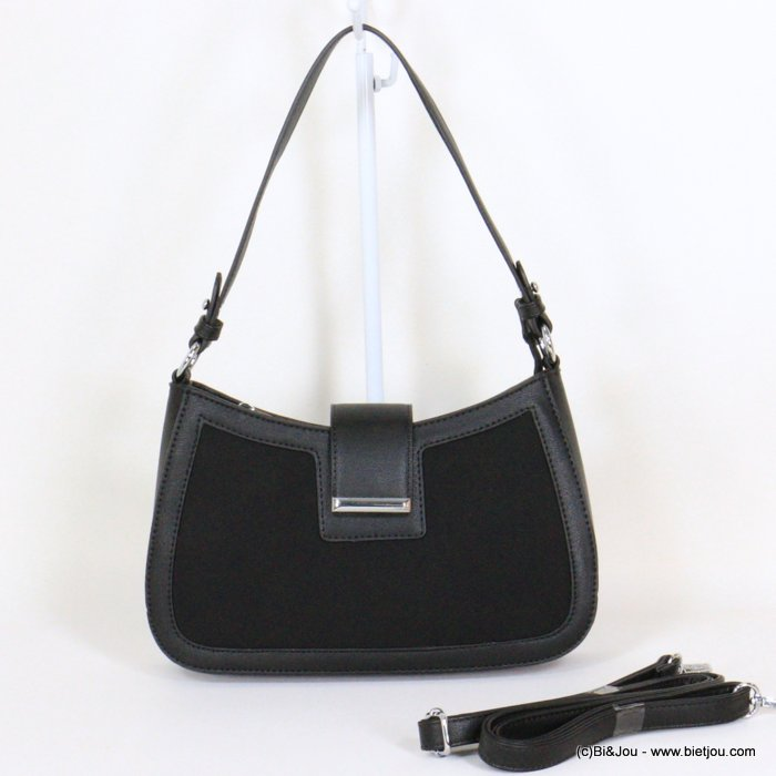 handbag 0921020-01 rigid imitation leather suede style front side woman