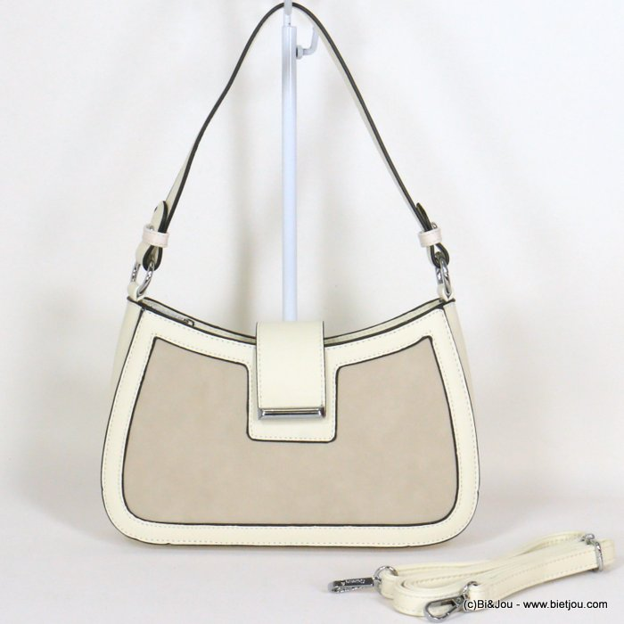 handbag 0921020-06 rigid imitation leather suede style front side woman