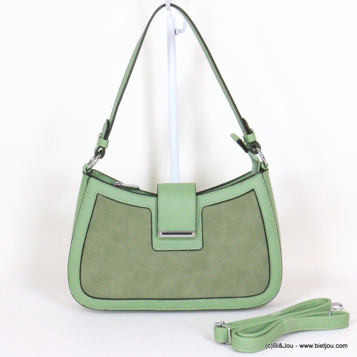 handbag 0921020-07 rigid imitation leather suede style front side woman