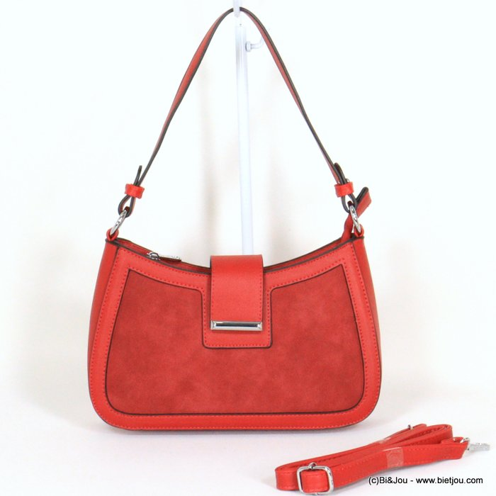 handbag 0921020-12 rigid imitation leather suede style front side woman