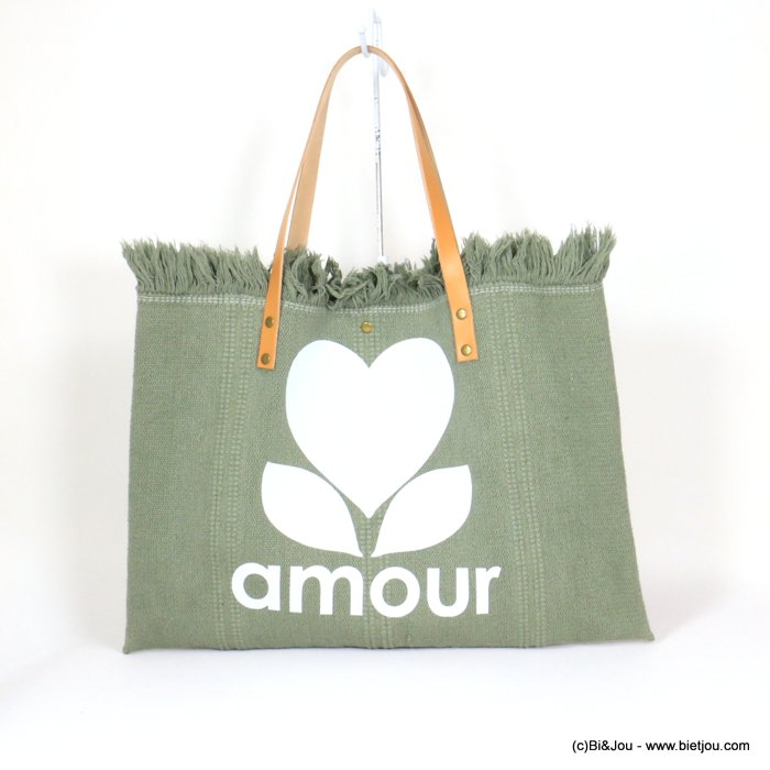 handbag 0921054-03 shoulder tote with AMOUR slogan heart 53x38cm cotton-leather