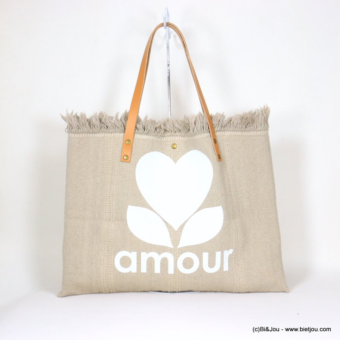 handbag 0921054-06 shoulder tote with AMOUR slogan heart 53x38cm cotton-leather