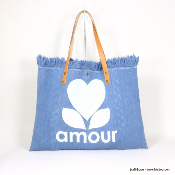 handbag 0921054-08 shoulder tote with AMOUR slogan heart 53x38cm cotton-leather