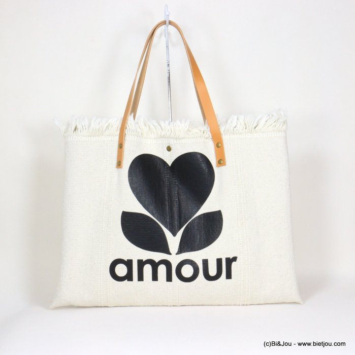 handbag 0921054-19 shoulder tote with AMOUR slogan heart 53x38cm cotton-leather