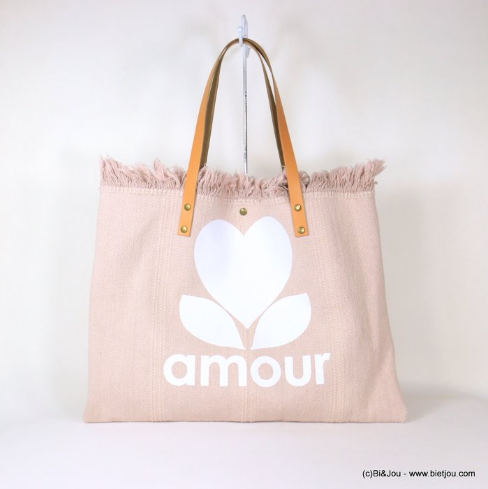 handbag 0921054-33 shoulder tote with AMOUR slogan heart 53x38cm cotton-leather