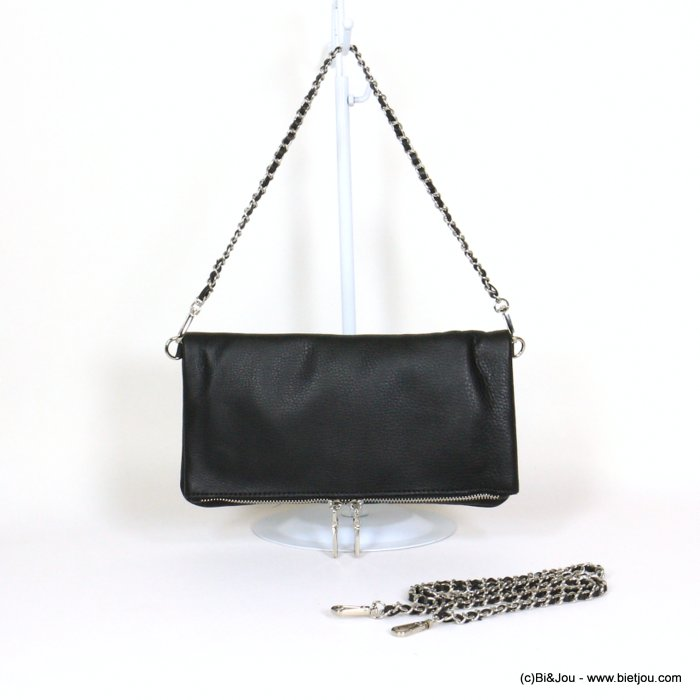 handbag 0921056-01 clutch GENUINE LEATHER woman 27x14.5cm