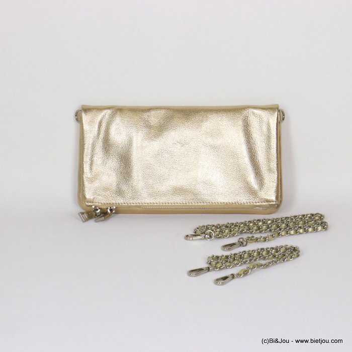handbag 0921056-14 clutch shiny golden GENUINE LEATHER woman 27x14.5cm