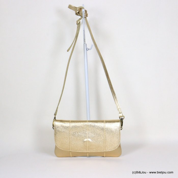 handbag 0921059-14 clutch shiny golden GENUINE LEATHER woman 22.5x13cm
