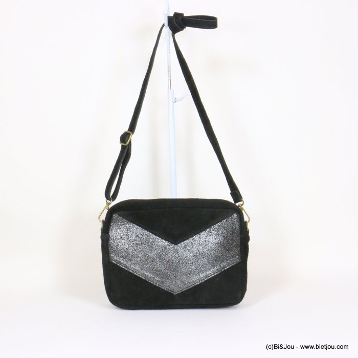 handbag 0921061-01 suede style 23.5x17x7cm GENUINE LEATHER