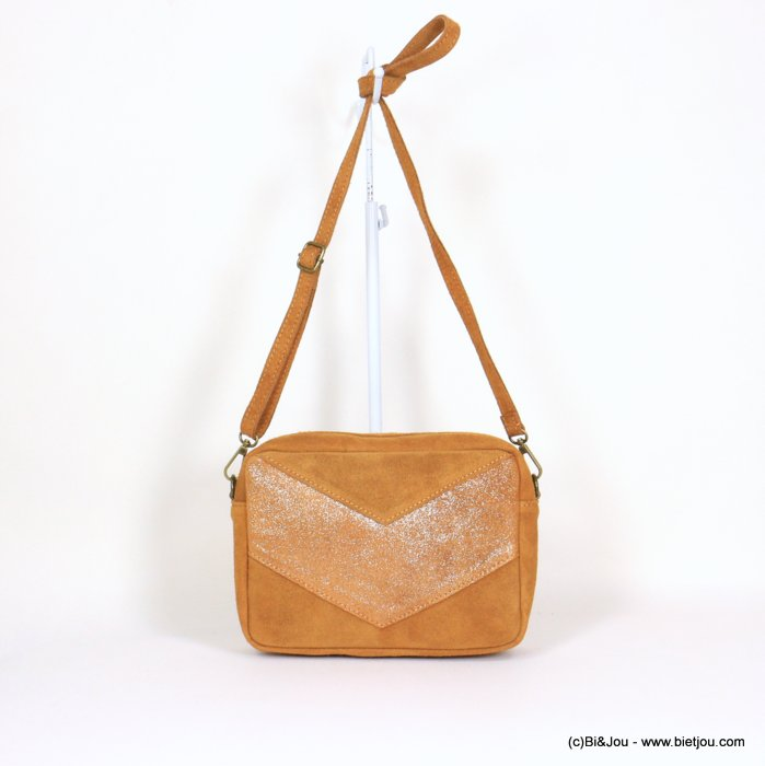 handbag 0921061-02 suede style 23.5x17x7cm GENUINE LEATHER