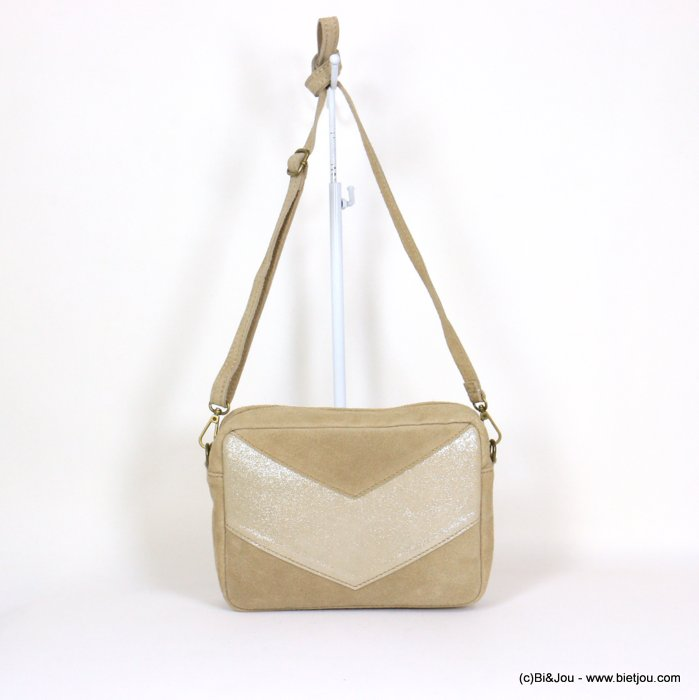 handbag 0921061-06 suede style 23.5x17x7cm GENUINE LEATHER