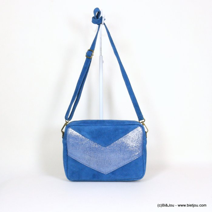 handbag 0921061-08 suede style 23.5x17x7cm GENUINE LEATHER