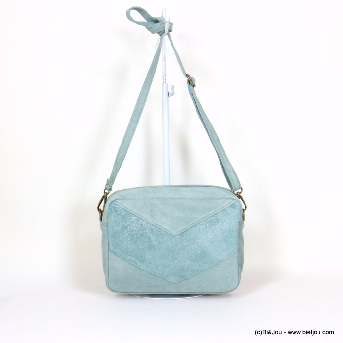 handbag 0921061-38 suede style 23.5x17x7cm GENUINE LEATHER