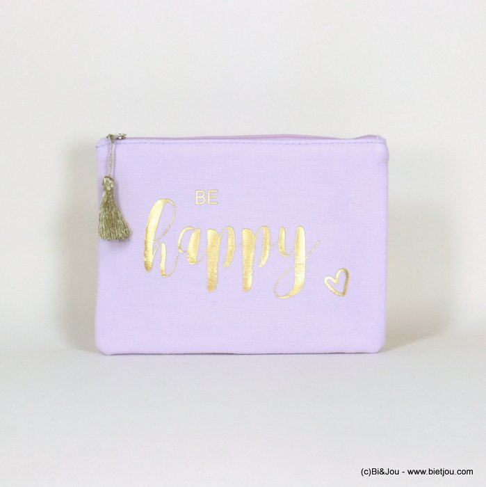 "handbag 0921064-04 clutch with ""BE HAPPY"" slogan heart tassel cotton cheesecloth 21.5x16cm"