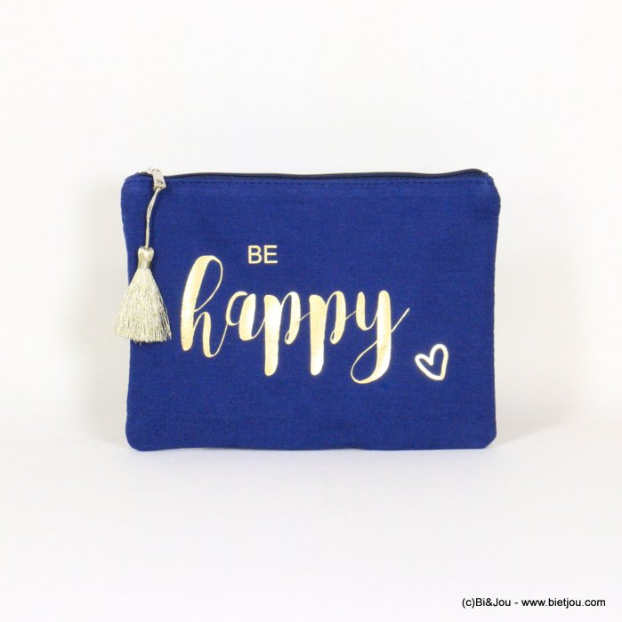 "handbag 0921064-09 clutch with ""BE HAPPY"" slogan heart tassel cotton cheesecloth 21.5x16cm"