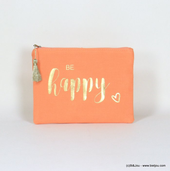 "handbag 0921064-11 clutch with ""BE HAPPY"" slogan heart tassel cotton cheesecloth 21.5x16cm"