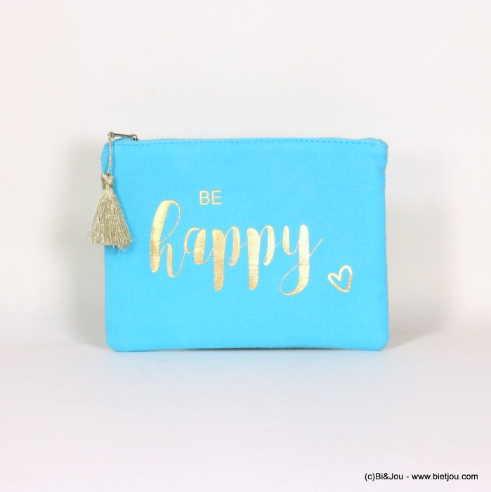 "handbag 0921064-17 clutch with ""BE HAPPY"" slogan heart tassel cotton cheesecloth 21.5x16cm"