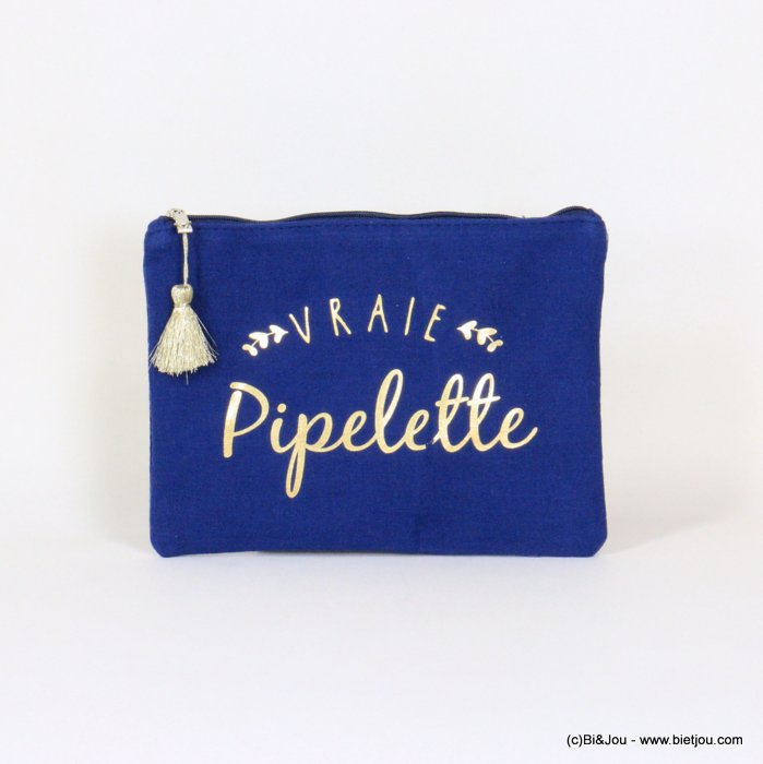 "handbag 0921068-09 clutch with ""VRAIE PIPELETTE"" slogan tassel cotton cheesecloth 21.5x16cm"