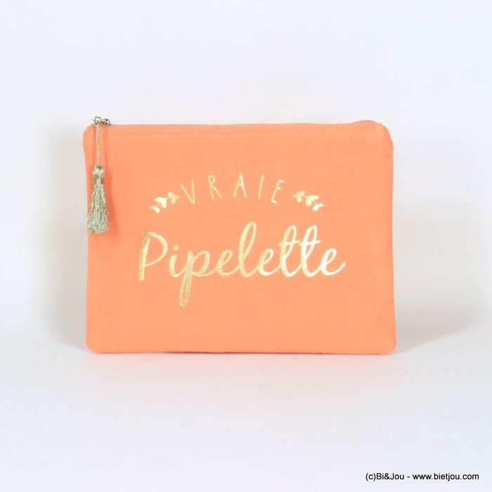 "handbag 0921068-11 clutch with ""VRAIE PIPELETTE"" slogan tassel cotton cheesecloth 21.5x16cm"