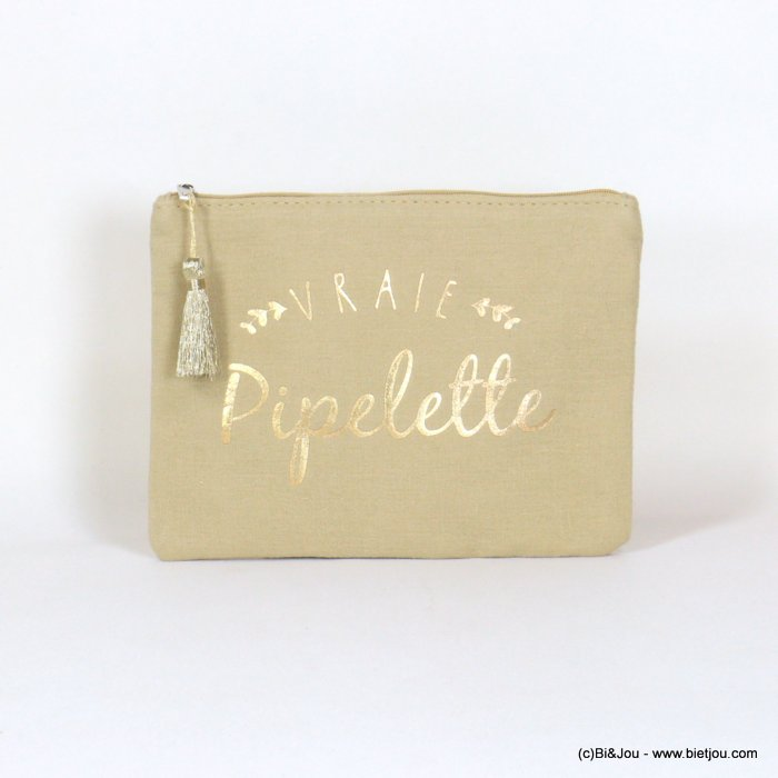 "handbag 0921068-30 clutch with ""VRAIE PIPELETTE"" slogan tassel cotton cheesecloth 21.5x16cm"